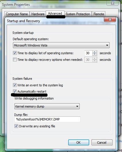 Отключение автоматической перезагрузки при синем экране